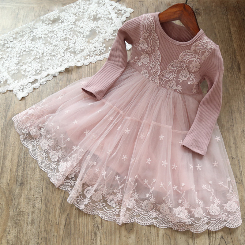 Autumn Girls Children's Kids Baby Long Sleeve Lace Mesh Tutu Patchwork Basic Dresses Princess Wedding Party Dress Vestidos S5691 3 4 sleeve mesh patchwork lace dress