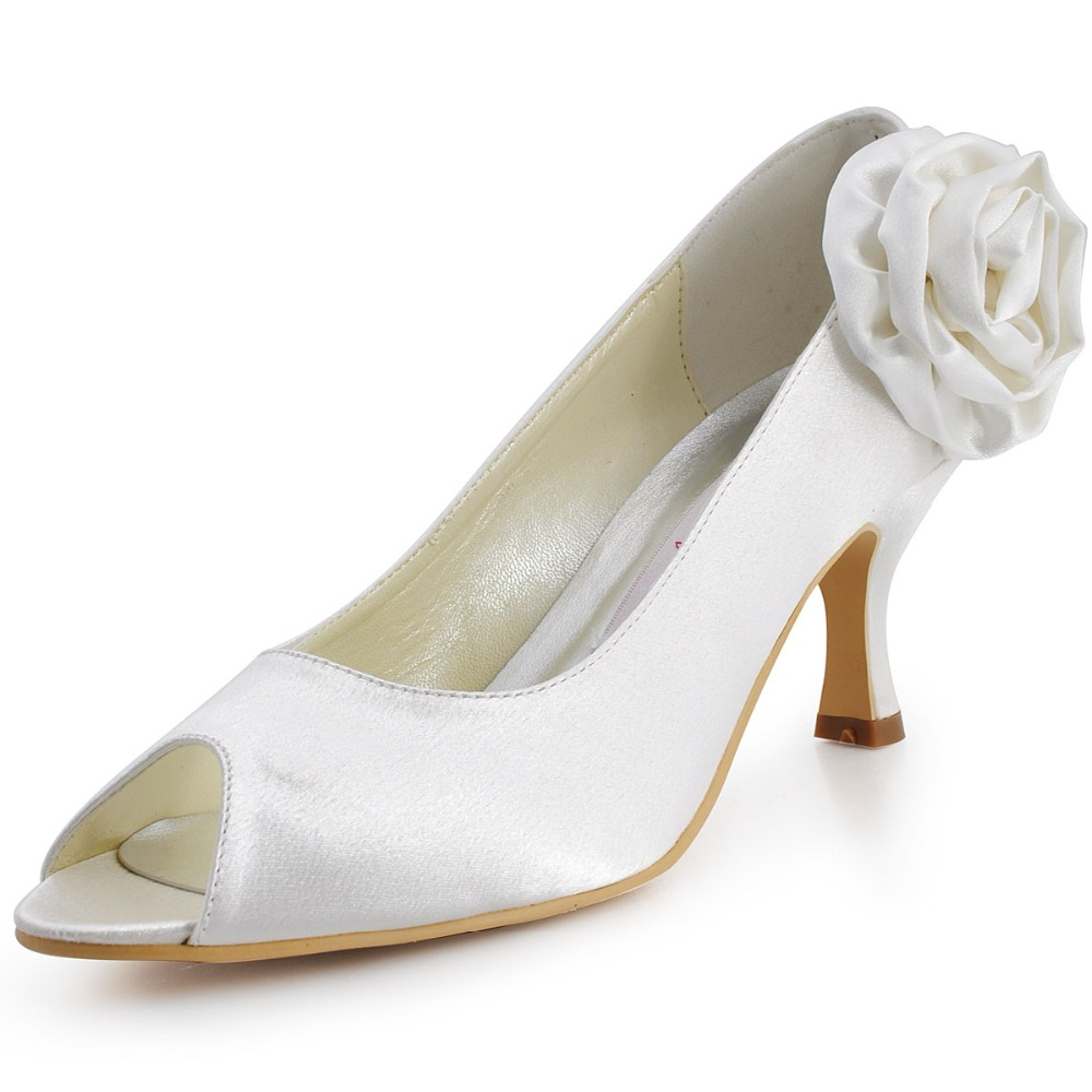 EP11005 White Ivory Women Flower Peep Toe Heels Bridal