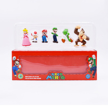 6 pcs/set Anime Super Mario Bros Peach Donkey Kong Yoshi Luigi Toad PVC Action Figure Doll Collectible Model Toy Christmas Gift стоимость