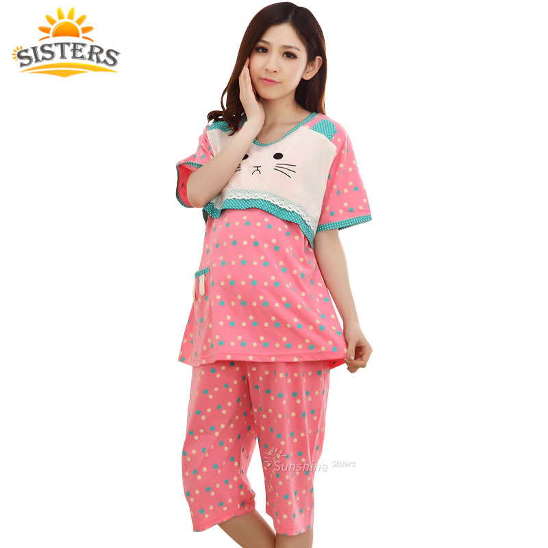Blue Polka dot cotton summer dresses for pregnant chic maternity wear lactation clothing for feeding pajamas Nursing Clothes