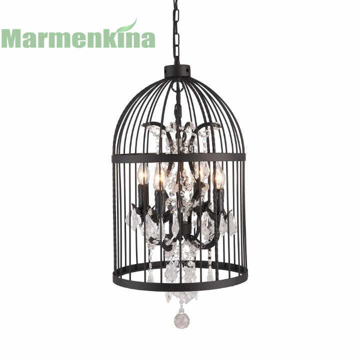 Черного цвета в ретро-стиле с украшением в виде кристаллов подвеска в виде птичьей клетки лампа творческая личность магазин одежды Ресторан Бар Кафе свет, E14 * 4.