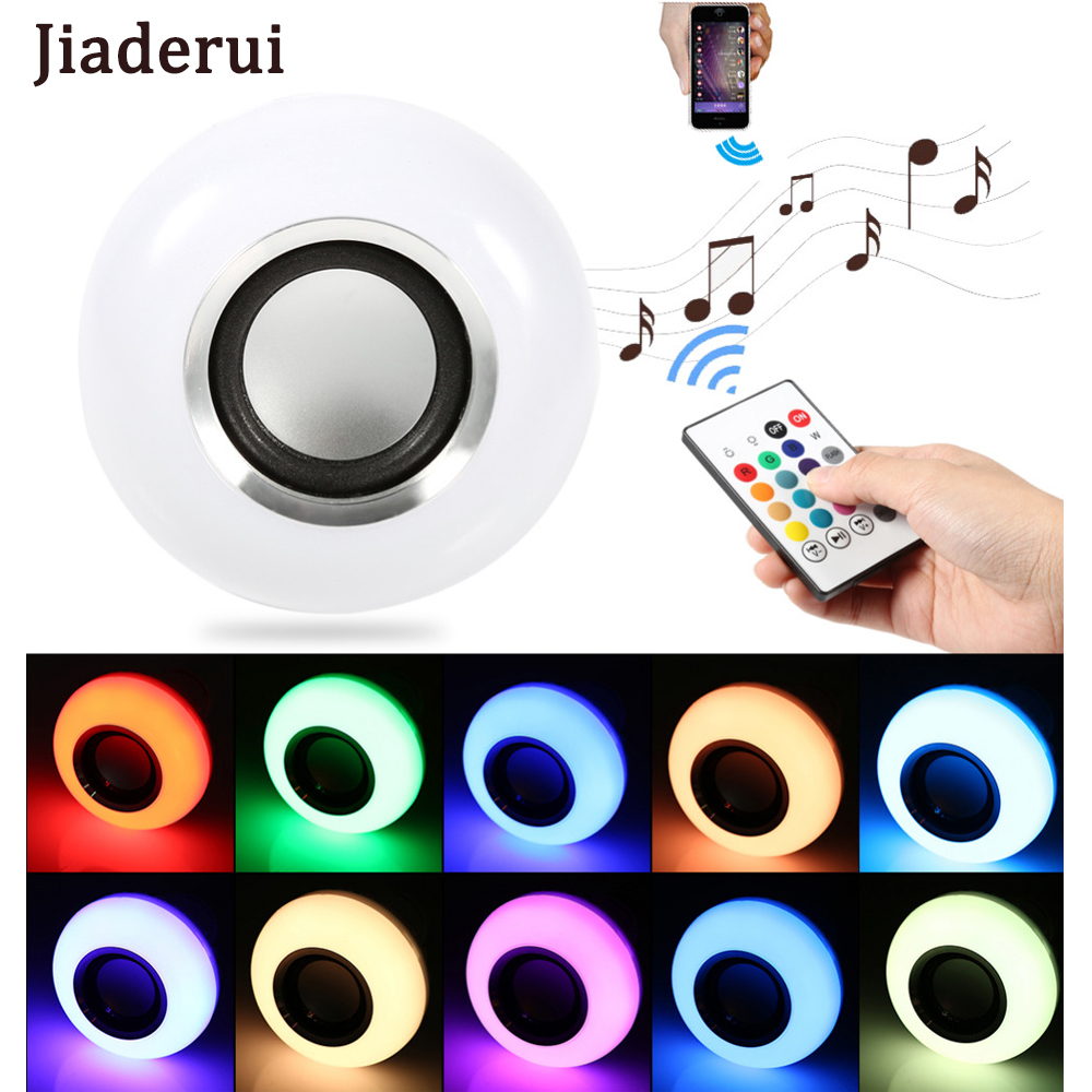 Jiaderui LED E27 RGBW Bulb Lamp 12W with 3.0 Wireless Bluetooth Speaker Remote Control RGB Intelligent Colorful Light Dimmable