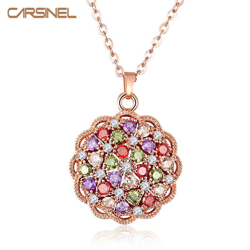 CARSINEL Fashion Colorful Flower Shape CZ Zircon Stone ...