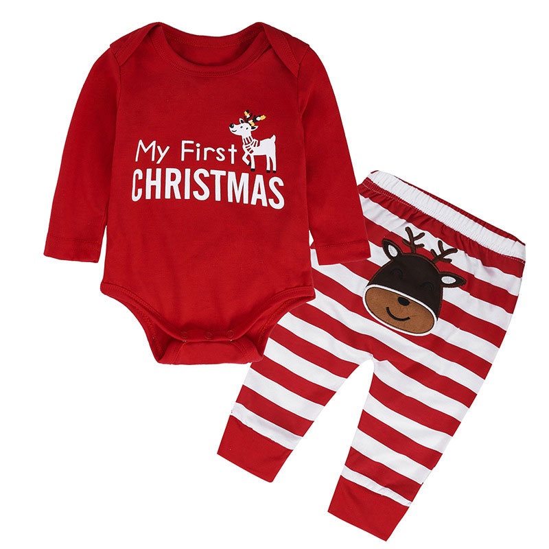 Hot Newborn Set Red Romper And Stripe Elk Pants Baby My First Christmas Outfit Baby Gift Set Infant Clothing Baby Girl Boy Suit