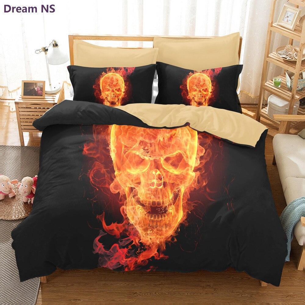 Dream NS 3D Skulls Bedding Set Super King Queen <font><b>Size</b></font> Spring <font><b>Bed</b></font> Linen / <font><b>Bed</b></font> Sheet Set (1pcs Quilt + Pillow covers 2 Pcs) <font><b>Bed</b></font> set