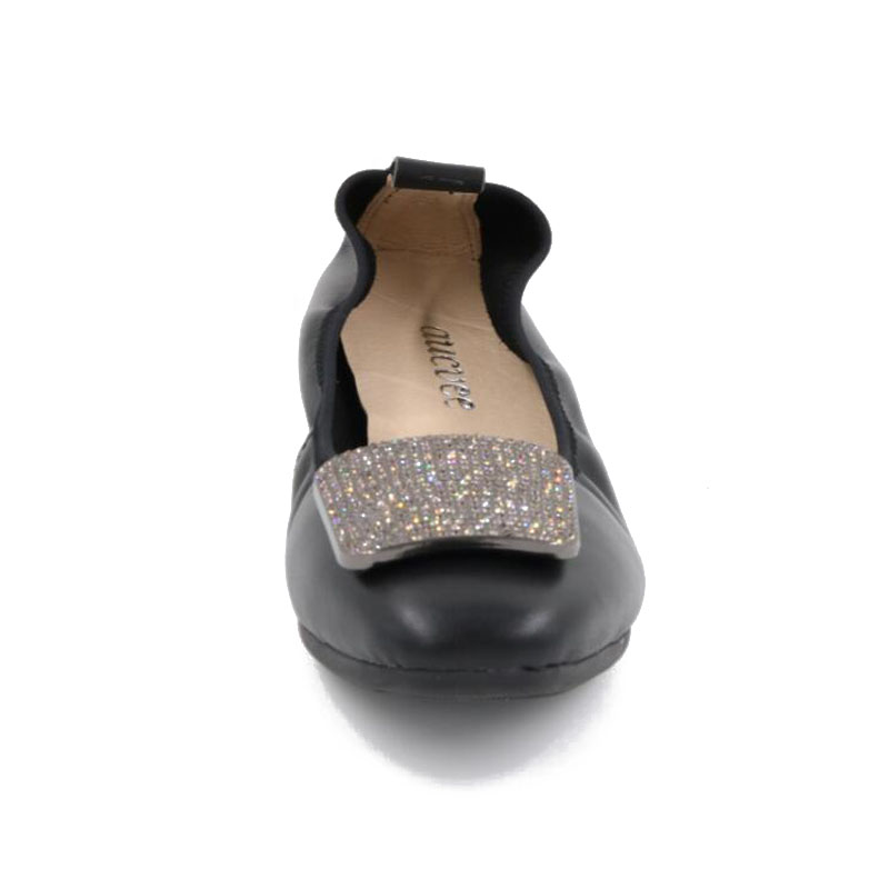 Parti silver Red En gray Chaussures black Black Marque Rond Pliable De red Ballet apricot Voyage blue Gray gold Femmes Cuir Bout 2 Confort Portable Aucvee Appartements Ballerine silver wine Mode 543qjRcALS