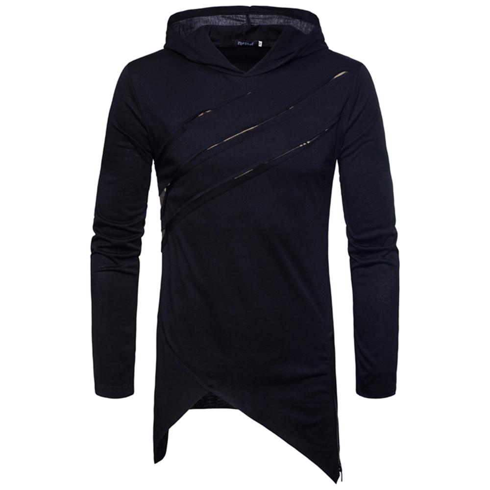 2018 nuevo hombre Hip Hop manga larga cremallera lateral Longline camisetas  con capucha moda urbana agujeros Patchwork camisetas extendidas en Camisetas  de ... 0b4f2fc387d