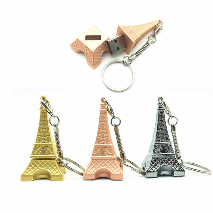 2018 Hot Sale USB Flash Drive Metal Eiffel Tower Shape 4GB 8GB 16GB 32GB Usb Flash Memory Thumb Pendrives For Gifts + Key Chain