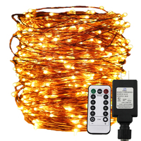 30m 50m 100m LED String Lights Copper Wire Christmas Starry Fairy Decorative Holiday Lights UL Adapter