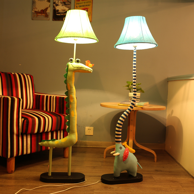 Kids Standing Lamps For Living Room Decoration Lighting Cloth Handmade  Animal Crocodile Bird Elephant Children Floor Part 52