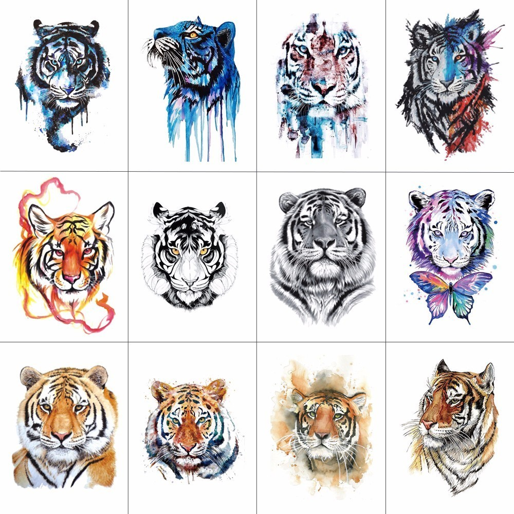 HXMAN 12 PCS/lot Tiger Temporary Tattoo Sticker For Women Men Fashion Body Art Adults Waterproof Hand Fake Tatoo 9.8X6cm W12-11