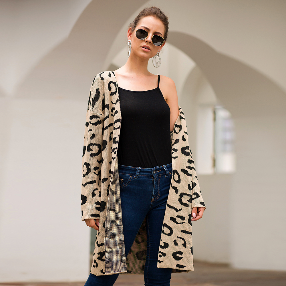 Women Long Cadigan Knitted Christmas Sweater Green Loose Leopard Jacket Daily Office Lady Coat European Korean Outwear SJ VD3088 in Cardigans from Women 39 s Clothing