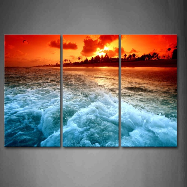 3 Piece Wall Art Painting Huge Wave On Beach At Sunset