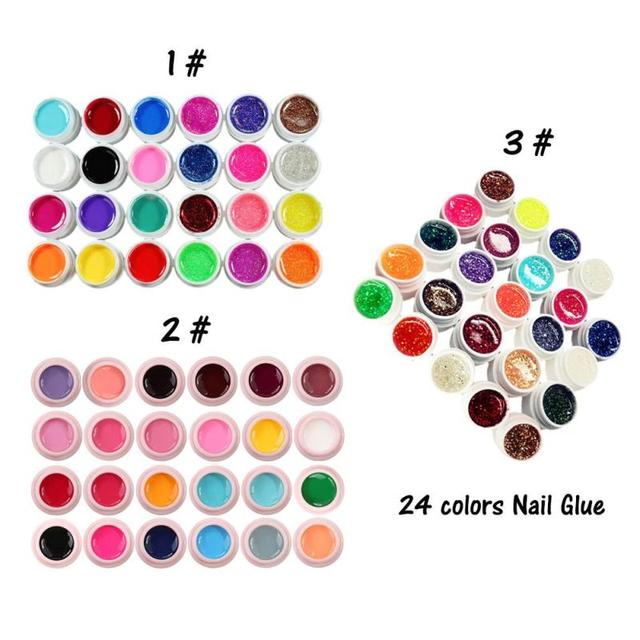 24 Colors/Set Gel Lacquer Pure Colors UV Gel Manicure Nail Art Tips Polish Design DIY Color Painting Gel RP1-5