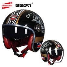 BEON Motorcycle Helmet Motorbike Vintage Casco Moto Helmet 3/4 Open Face Capacete Biker Scooter Helmet Motocross Double Visor