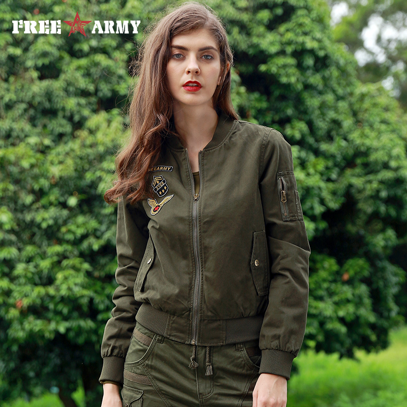 FREE ARMY Brand New Autumn Woman Bomber Jackets Army Green Letters Print Casual Basic Jacket For Women Clothing Outerwear Coats
