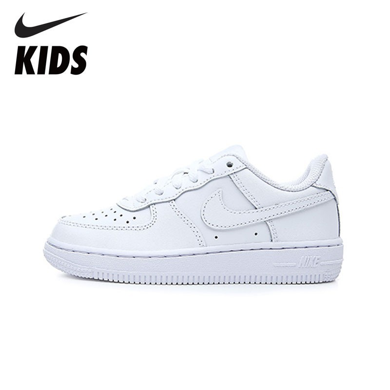 NIKE FORCE 1 Original Kids White Sports Skateboarding Shoes Breathable Light Sneakers #314193-117