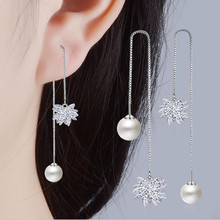 Everoyal Top Quality Silver 925 Girls Long Earrings Jewelry Trendy Crystal Flower Tassel For Women Accessories Female