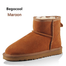 Begocool High Quality Australia Brand Winter Women's Snow Boots Cow Split Leather Ankle Shoes Woman Botas Mujer Big Size 4-13