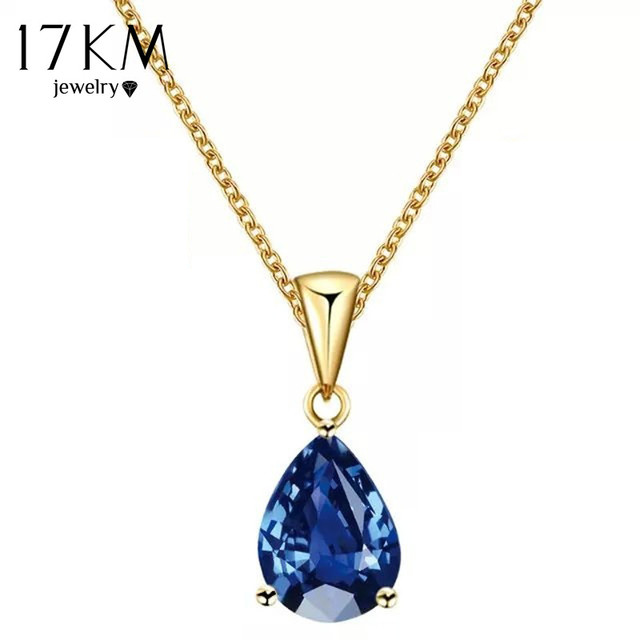 17KM Buy one Get one Free/ Fashion Crystal Water Drop Necklace for Women 7 Color