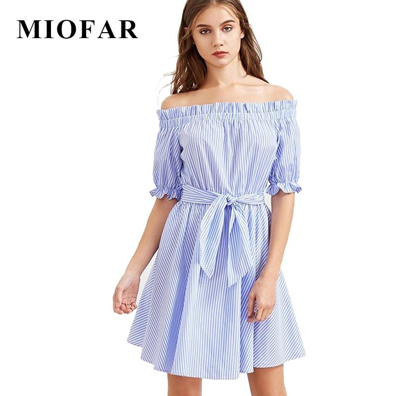 2017 verano nueva rayas azules elegantes sexy holiday party dress casual cinturó