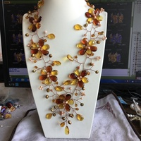 Wholesale Love Ambers Brown Yellow Crystal Woven Choker Wrap Necklace For Women 2019 New jewelry Gift