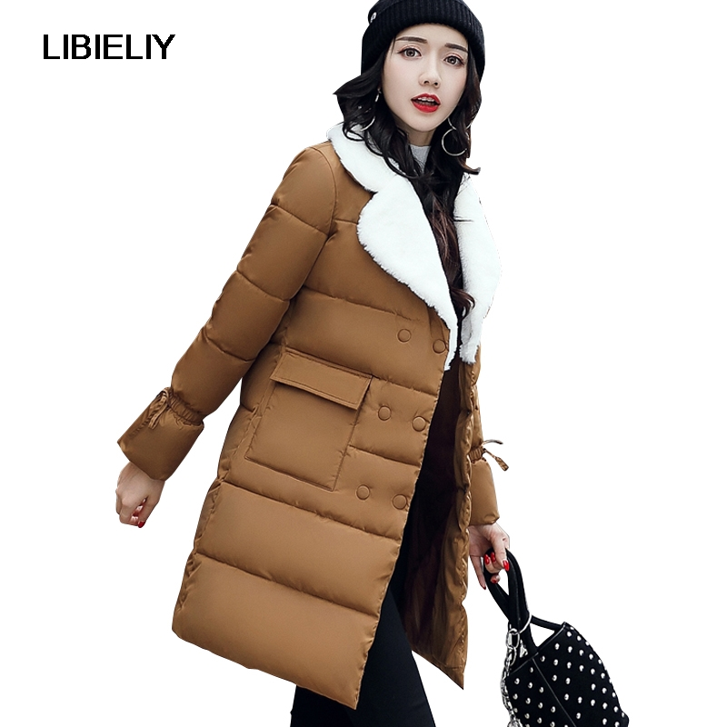 Nice Women Winter Long Turn Down Collar   Basic     Jacket   Female Cotton Padded Coat Ladies Outerwear Big Pocket Warm Camperas