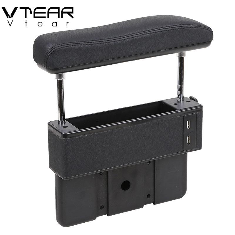 Universal car adjustable Increase armrest box Central lift elbow support with USB Charging hole interior car styling Accessories