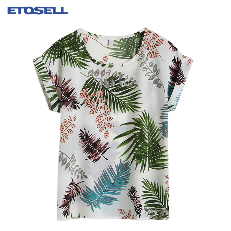 Hot Summer Women's Casual   Blouse     Shirt   Floral Chiffon Print O Neck Short Sleeve Lady's Top Loose Blusas Plus Size L-4XL