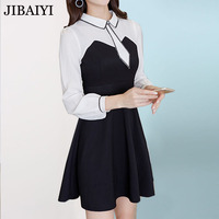 Good Quality Mini Dress Women Vintage Black White Patchwork Dresses Female Polo Collar Long Sleeve Spring