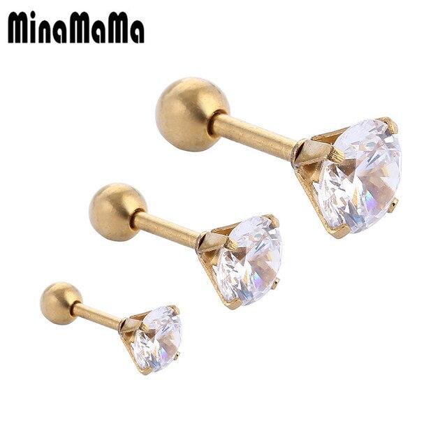 3pcs Set Stainless Steel Earrings Sets Gold Color Zircon Medical For Women Men Ear