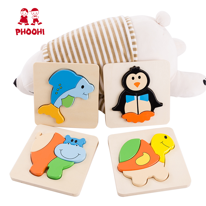 Kids Wooden Animal Puzzle 8 Different Style Simple Plywood Baby Educational Puzzle Toy For Toddler PHOOHI