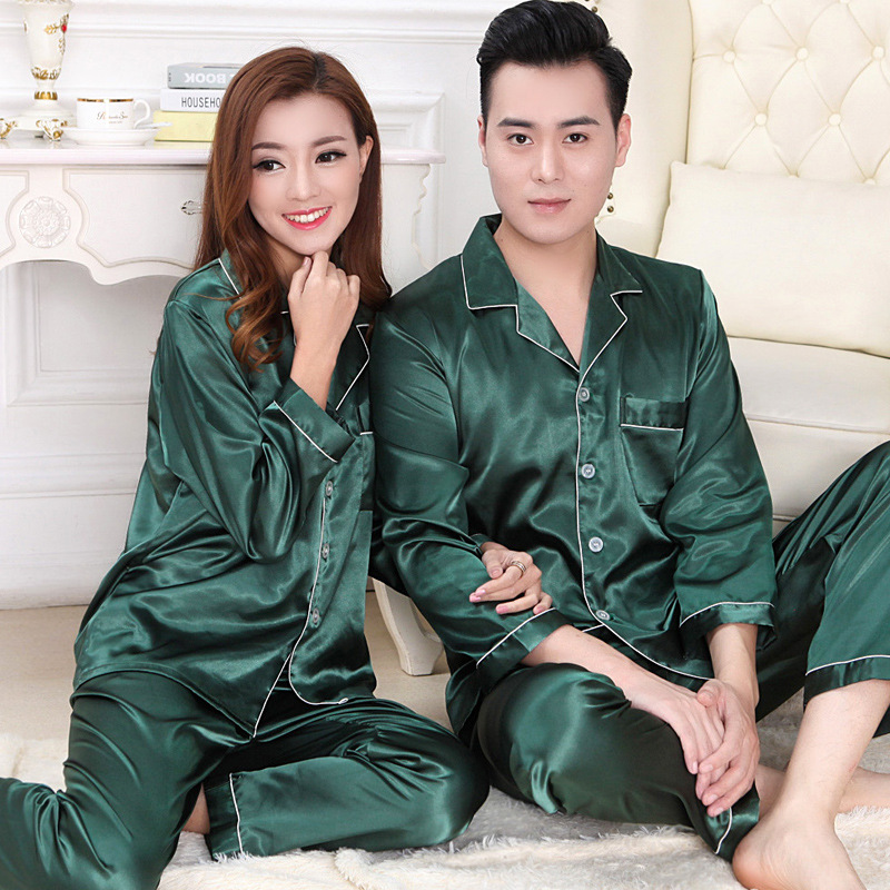 Lovers Sleepwear Women Silk Satin Pajama Set Or Men Pijama Set Long Sleeve Pyjama Set For Spring Autumnb Green White