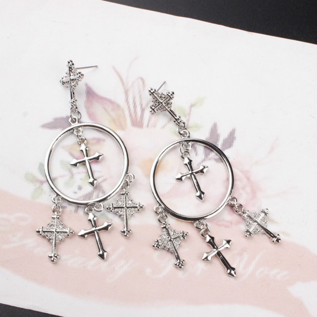 New Fashion Multiple Cross Dangle Earrings Jewelry Vintage Gold Color Chandelier For Women Best