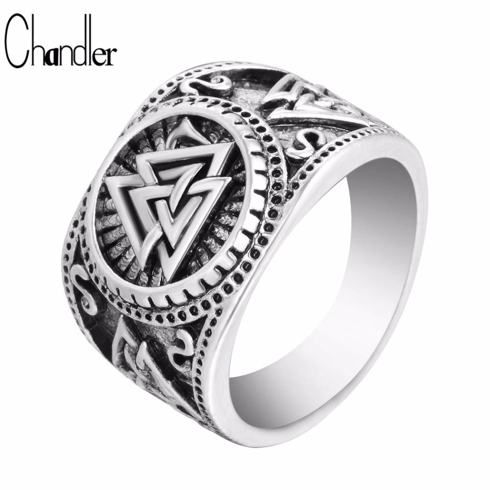chandler new valknut signet ring scandinavn odin symbol