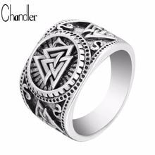 Chandler New Valknut Signet Ring Scandinavn Odin Symbol Norse Viking Jewelry Mens Boys Silver Plated Biker Ring Fashion Jewelry