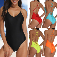women Swimwear Sexy high cut one piece swimsuit Backless swim suit Black White Red thong Bathing suit female Monokini 6Colors