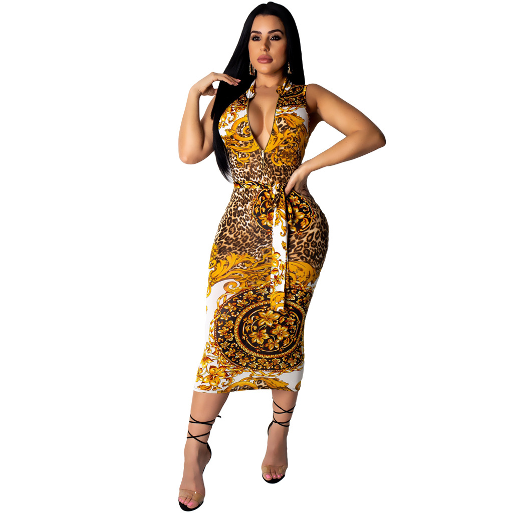 2019 Summer Women Sleeveless Paisley Vintage with Sashes Midi Dress Bodycon Night Club Pencil Zipper Up Dresses Vestidos M7179