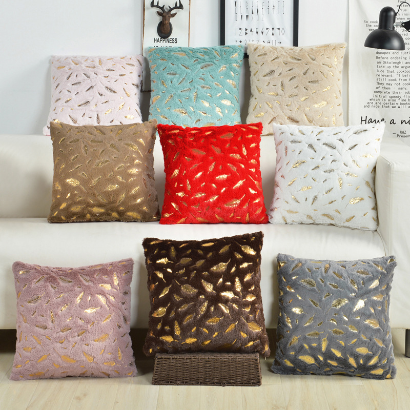 >Fur Cushion Cover Pillowcases Solid Color Brown White Gray <font><b>Pink</b></font> Red Black Decorative <font><b>Pillows</b></font> Gold Feather <font><b>Throw</b></font> <font><b>Pillow</b></font> Covers