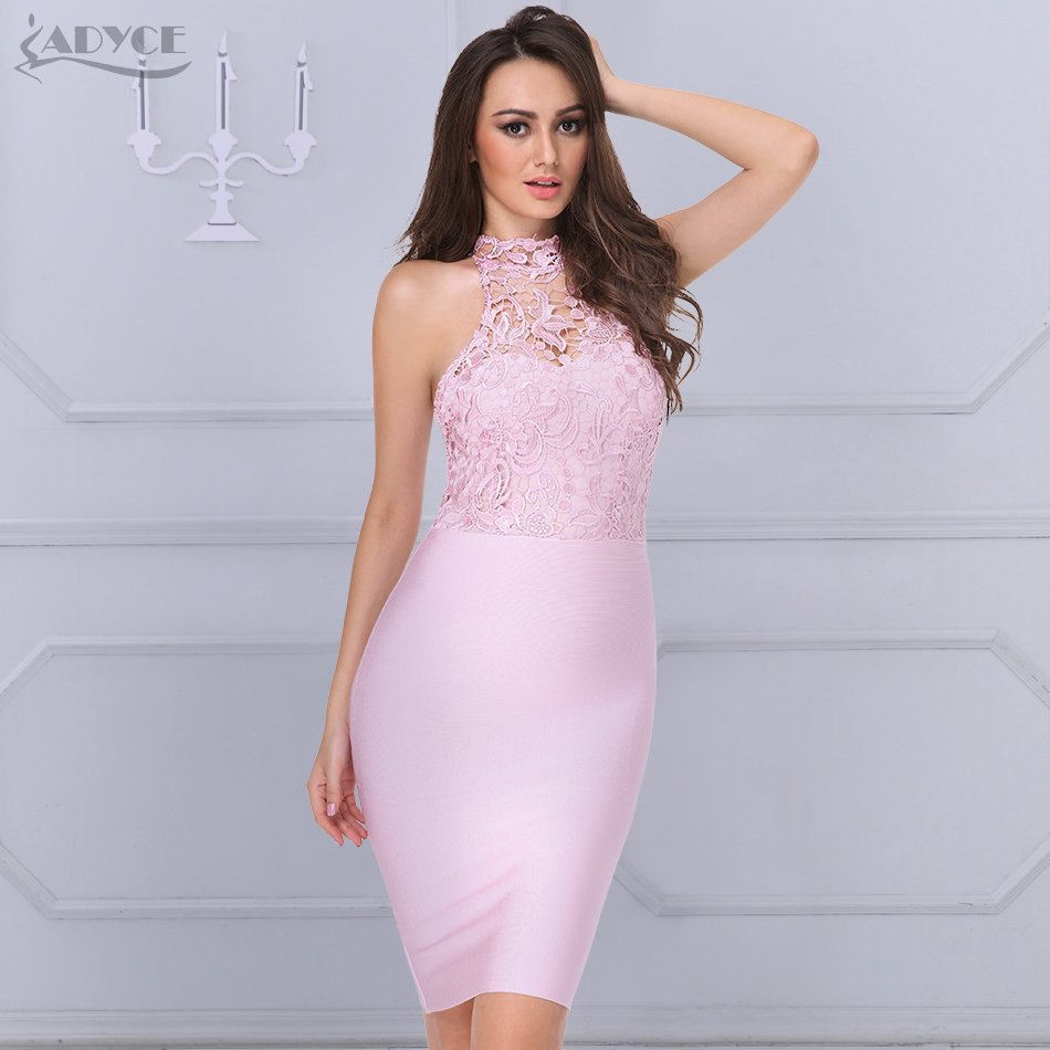 ADYCE 2018 nuevo verano mujeres encaje vendaje vestido rosa Floral O ...