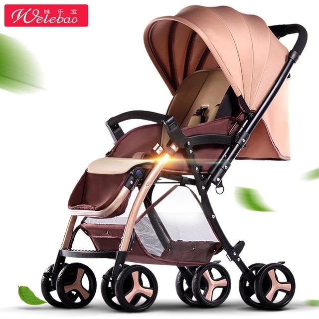 Baby Stroller Light Weight 6.5Kg One-Hand Folding High Landscape Infant Carriage Portable Pram 8-Wheels Eva Shock-Absorbing Tyre