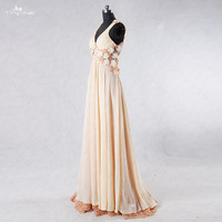 RSE762 Flowing Chiffon V Neck Lace Backless Floral Pregnant Prom Dress