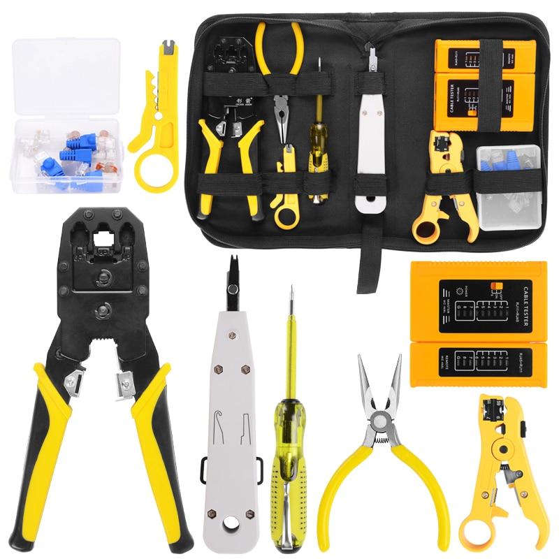 Handskit RJ45 RJ11 RJ12 Network Repair Plier Tool Kit With Utp Cable Tester Spring Clamp Crimping Tool Crimping Pliers