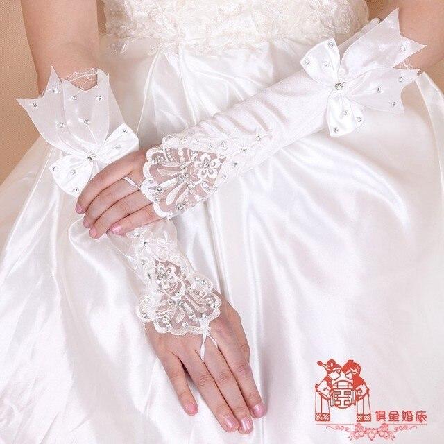 Luvas Sem Dedos do marfim Cristal Beading Big Cetim Longas Luvas Noivas Luvas Longas Luvas de Casamento BG060 Feminino Que Bling Bling Do Luxo
