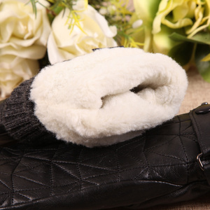 Image 5 - Gants en cuir véritable pour femmes, automne hiver, velours Plus épais et peau de mouton, sans doigts, pour la conduite, L155NY