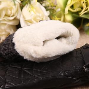 Image 5 - Женские кожаные перчатки L155NY, бархатные перчатки из натуральной овчины без пальцев на осень и зиму