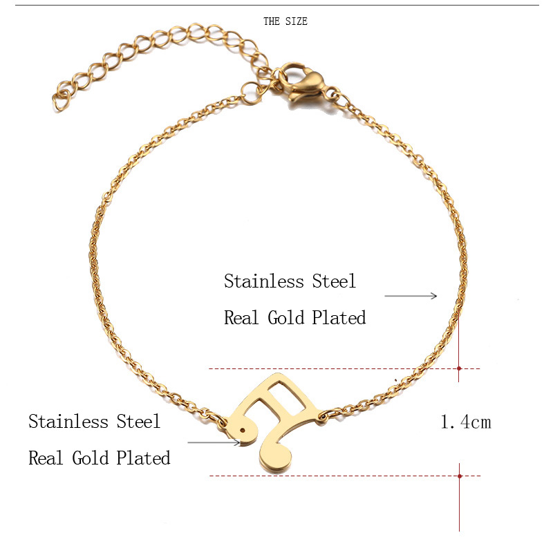 Stainless Steel Bracelet Musical Notes Gold or Silver 092