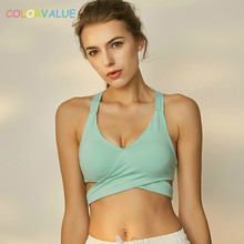 Colorvalue Sexy V neck Sport Brassiere Women Solid Bandage font b Fitness b font Dance Bra