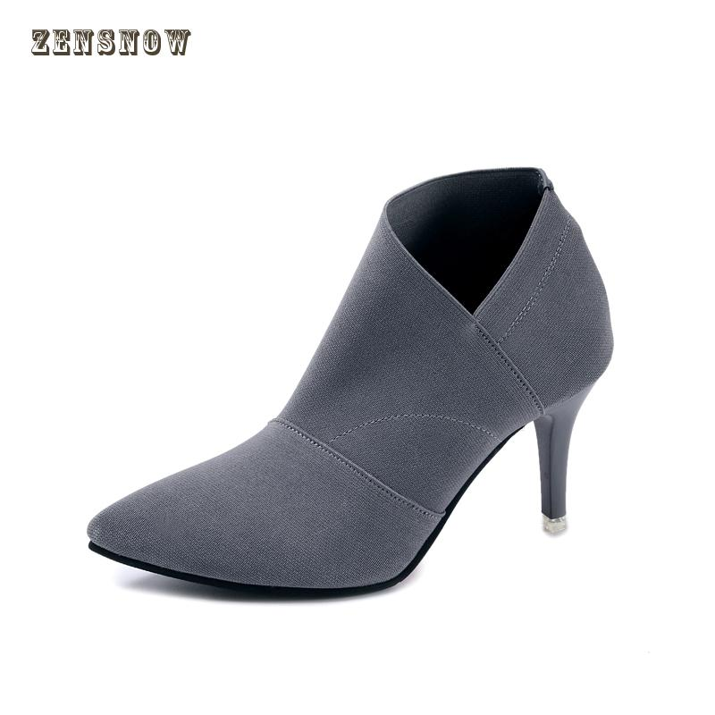 Brand womens shoes in the fall of 2018 new design quality stretch cloth high heel boots professional womens shoes