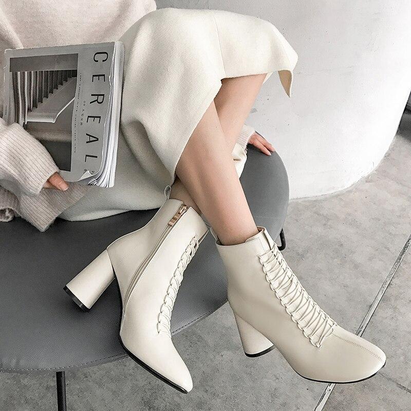 INS HOT femmes bottines en cuir véritable 22-26.5 cm pieds longueur bottes pour femmes bout pointu Chelsea bottes à talons hauts